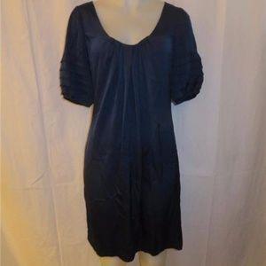 ELIE TAHARI SILK STRETCH NAVY BLUE SHIFT DRESS 8